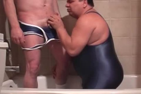Pervy Lad Pissing In Boyfriend's Trap whilst that guy's BJing His Stiffed Tackle