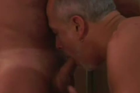 Experienced daddy homo couple engulfing On The cock
