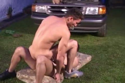 Two lustful homo Beefcakes wazoo fucking On The Lawn