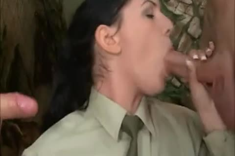 brunette hair hair girl In Al pooper 3some With two delicious Soldiers