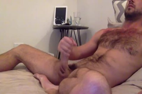 brunette hairy boy Strokes His humongous penis'