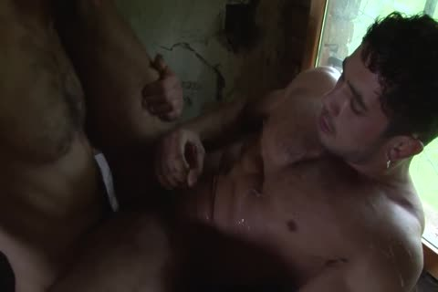 Muscly men banging Outdoor