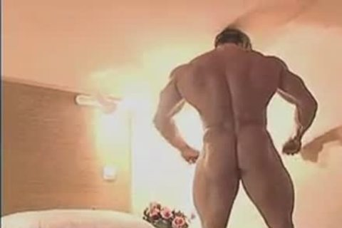 attractive Muscle Hunk In Birthday Suit And Touching Himself