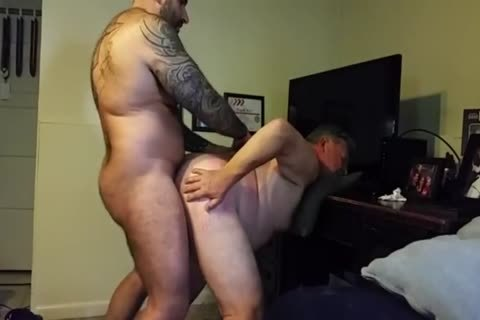 chubby Daddy gets poked By Muscle Bear