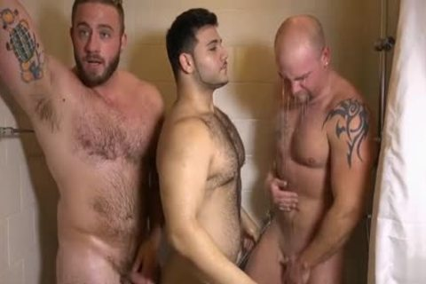Muscle gay three-some And ball cream flow