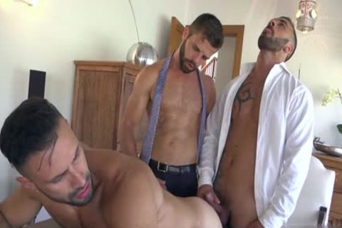 Muscle gay 3some And cumshot