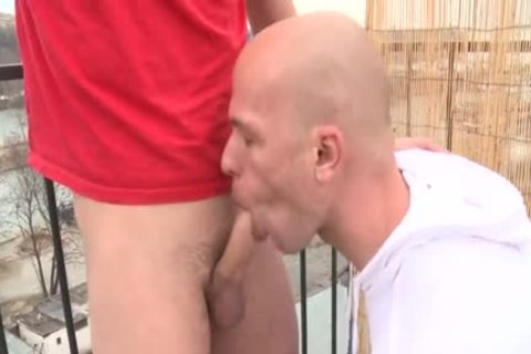 large cock Daddy Public Sex With Facial