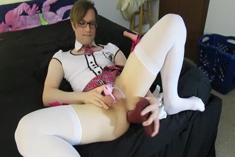 Femboy Trap In Chastity Plays With 5 Dildos