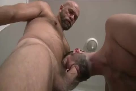 Bear Shoves undressed cock in hairy anal gap