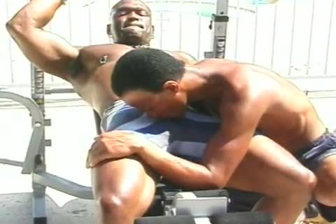 Two dark Muscle Hunks bang Poolside After Weightlifting