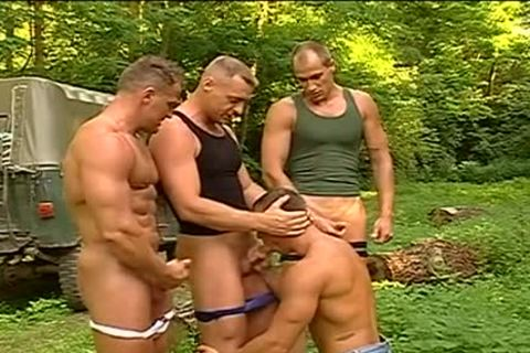 boyz show some muscle in the woods