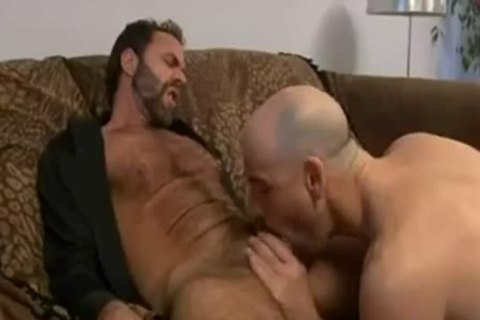 Two sleazy men sucking & nailing