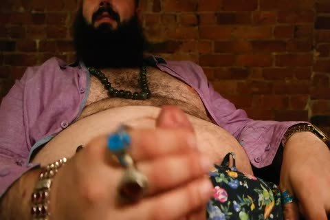 sleazy chubby guy With Rings Jersks Off And bonks Himself