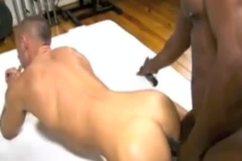 Darksome doctor examines white gay