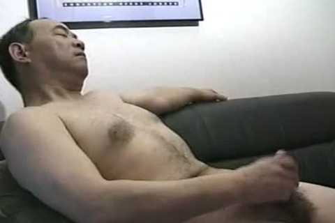 lusty Looking handsome Japanese Daddy Single Action.  Jack Off