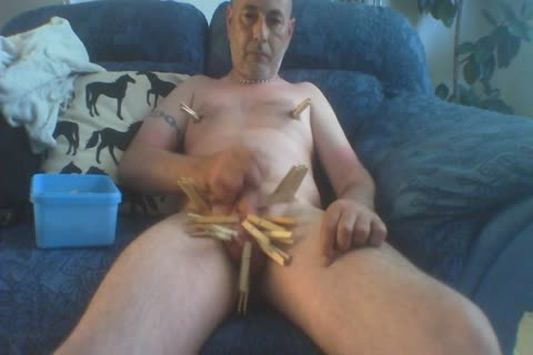 Solo jack off whilst Pegging My Balls, 10-Pounder, mangos And Tongue Then Finishing Off By Tying My 10-Pounder And Balls With A Bootlace And Shooting My Load Over My Body. pumped up-in cam Not Great And No Audio.