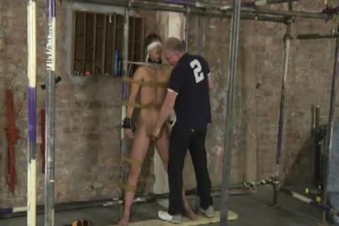 Restrained bare For Caning sex-toy And Cumming