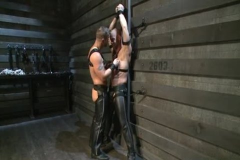 Hung White lad In Leather acquires Off homo fellow