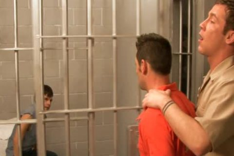 excited gays bang In three-some In Prison
