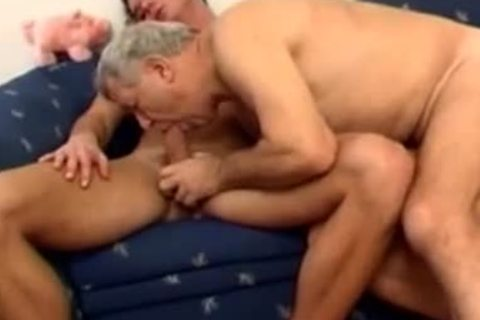older daddy With Younger plough On bed
