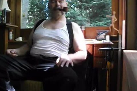 Enjoying A Pipe, Stripping Down To My underclothing And bare Feet. PG-rated.