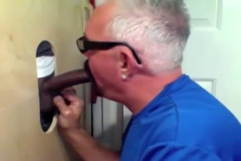 daddy guy Slobs All Over black dick At Glory hole