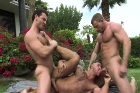 Muscled homosexual sperm Drenched