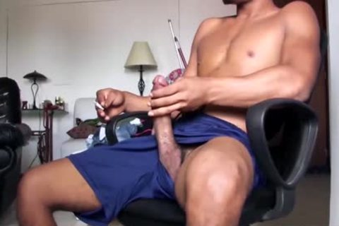 large Dicked fashionable Latino dude Is Working His gigantic Load