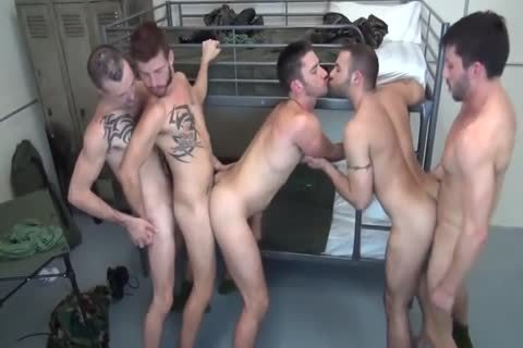 5 Military males bare Double poke In Barracks