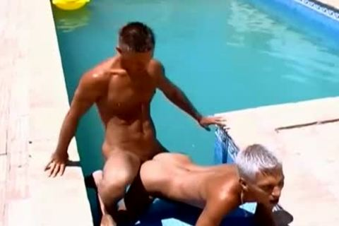 Wow lusty ramrods lusty Poolside homosexual ass slamming