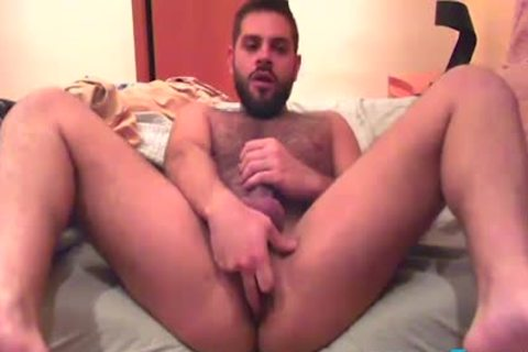 Bearded twink Fingers His arsehole previous to he Cums