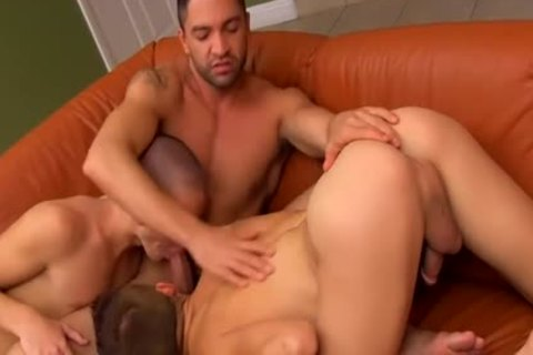 Muscled Hunk likes these Two bald taut small asses And dildos 'em With fake penis
