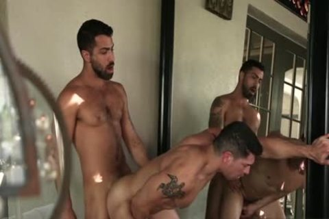 Large dick homosexual trio with spunk flow
