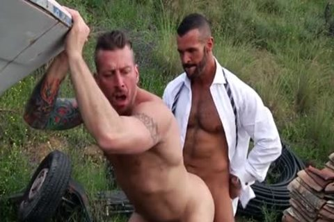 Muscle trio fucking outdoor