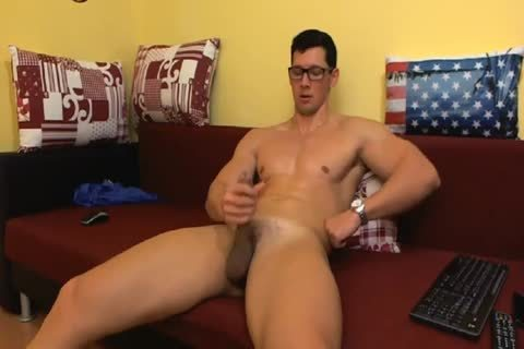 kinky White lad With muscular Body Jerks Off