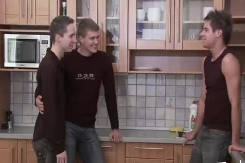 teen teen MEDIA Pissing teen Kitchen three-some