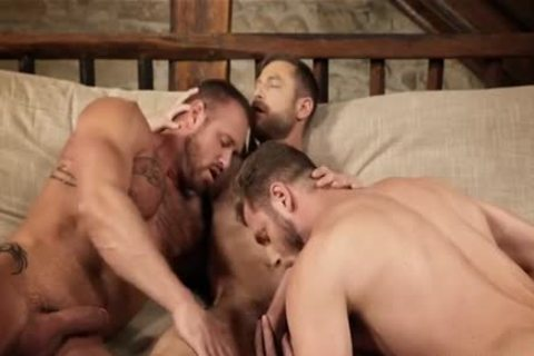 brawny threesome raw And Creampie