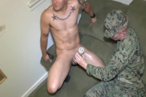 Marine Sergeants Nick & James Jerk It With A Fleshjack