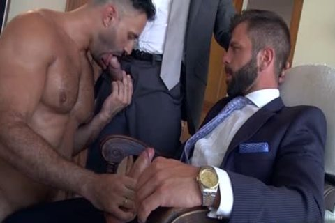 Muscle homo three-some With ball batter flow