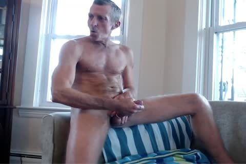 Exhibitionist dad Strokes By The Window
