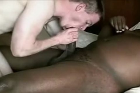 White twink acquires poked By plump black