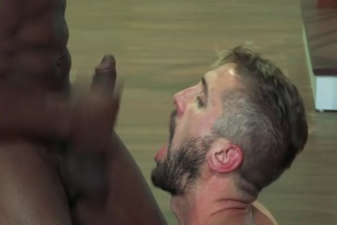 Interracial bears threeway banging