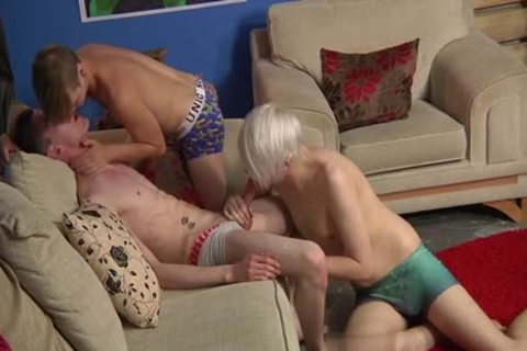 Tattoo twinks 3some With Facial cum
