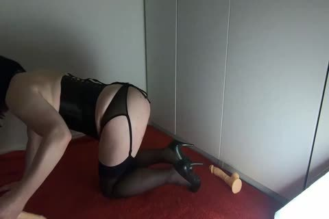 Sissy Crossdresser Lizzy Rides Double dildo And trickle