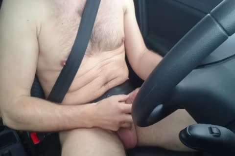 Jerking naked while Driving Car, jack off Outdoor Near Road