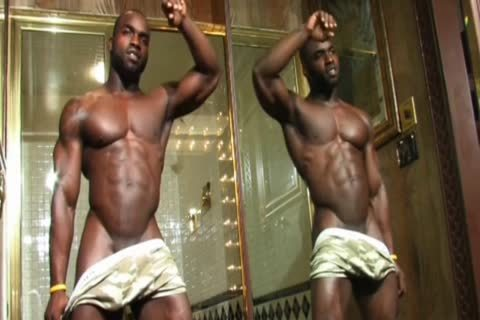 black Muscle Hunk Jerks Off