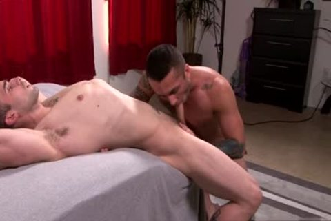 Muscle homo booty stab and ejaculation
