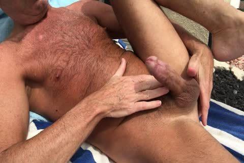 Sunbathing lewd bushy Daddy
