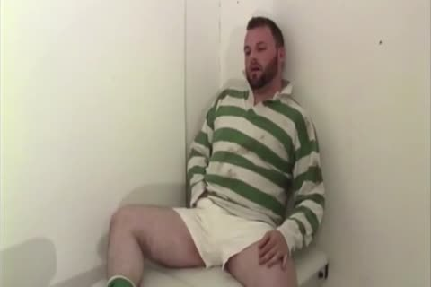 Rugby Bear Jerks Off In Locker Room