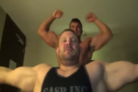 Muscle Buddies Flexing And Showering